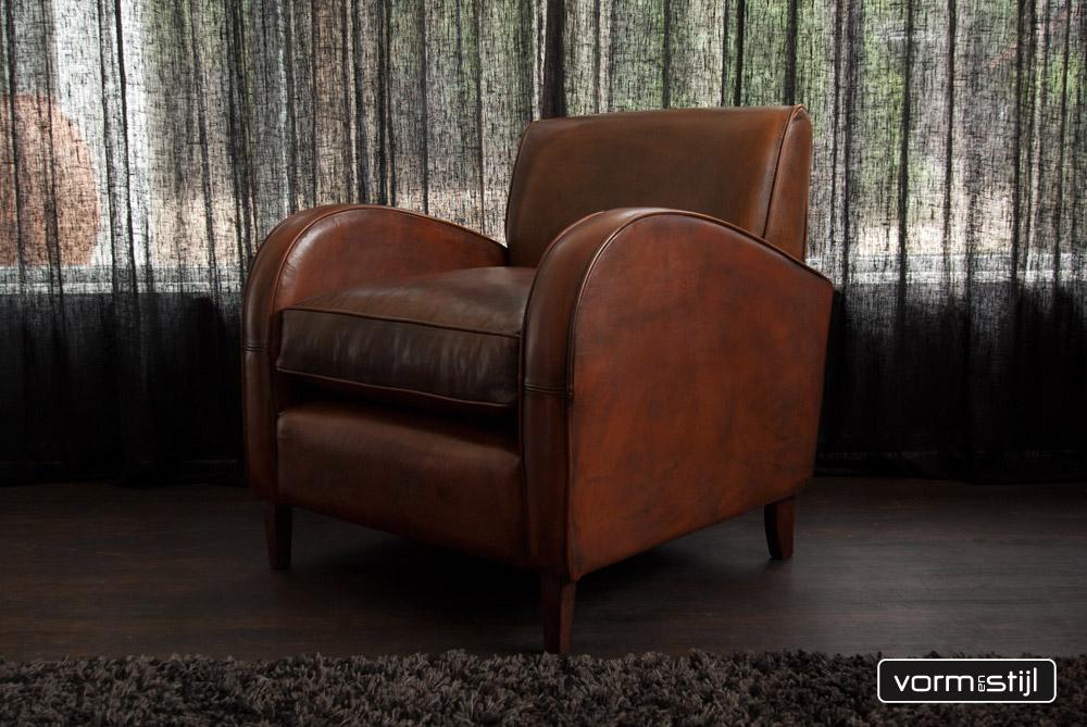 Mooie art deco fauteuils in dik waxed schapenleer - Mooie fauteuil ...