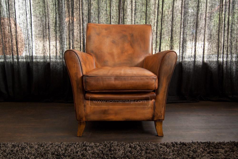 Cognac leren fauteuil finest biker cognac lederen stoel met