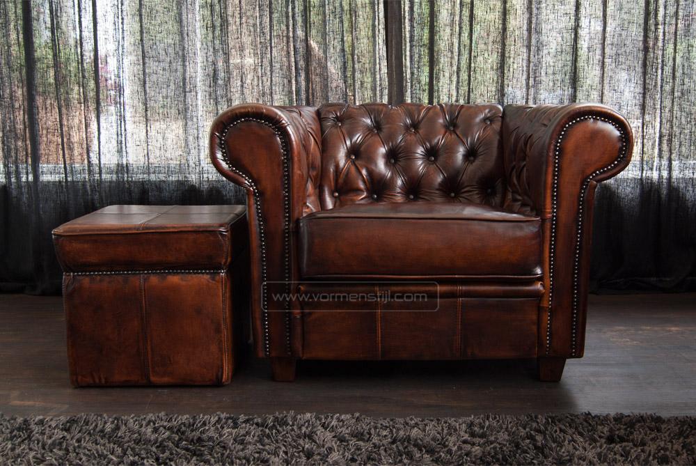 chesterfield fauteuil s in schapenleer. Black Bedroom Furniture Sets. Home Design Ideas