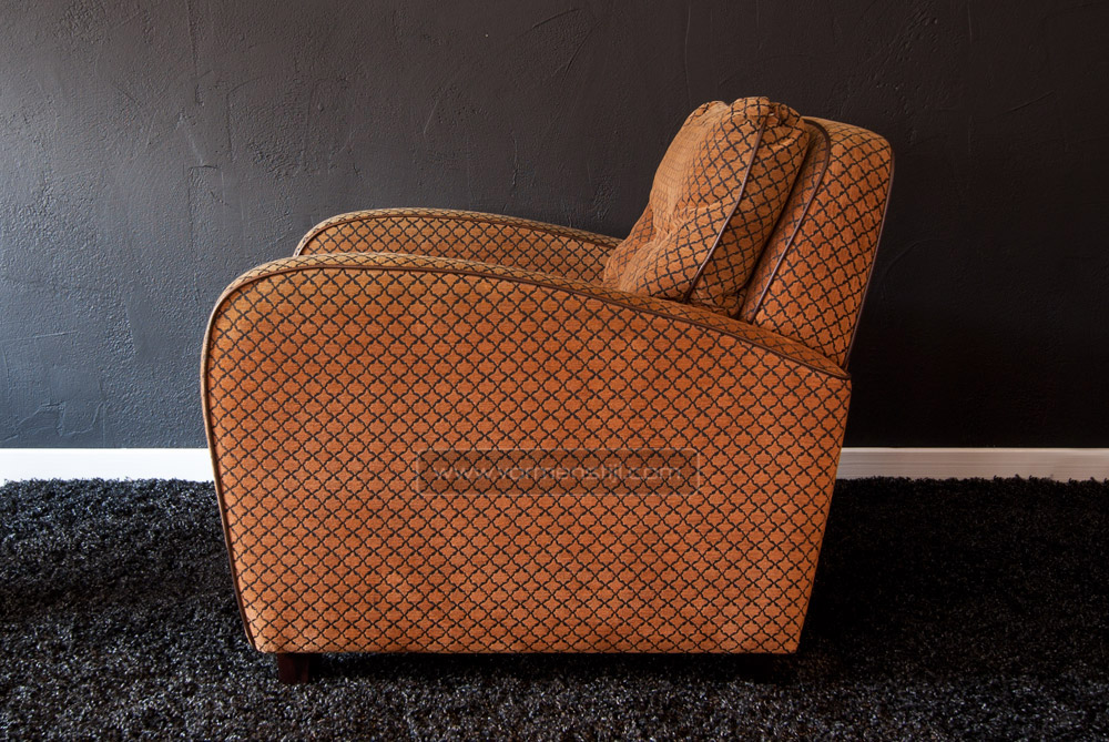 Art Deco Meubelstof.Art Deco Lounge In Strong Velor Fabric With Leather Trim