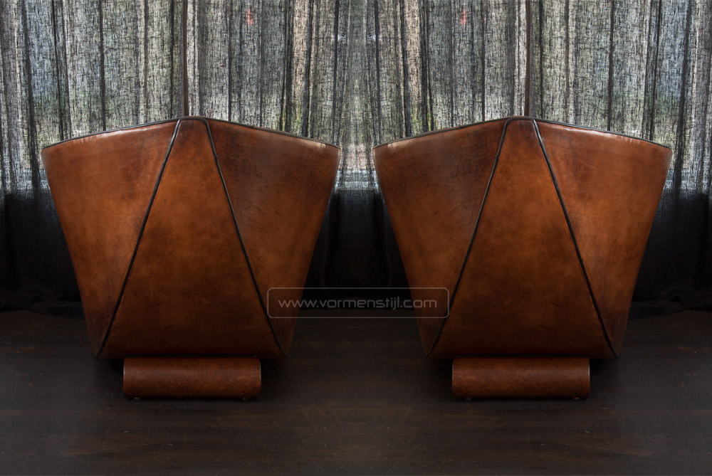 Architectural armchairs design bart bekhoven in thick sheepskin
