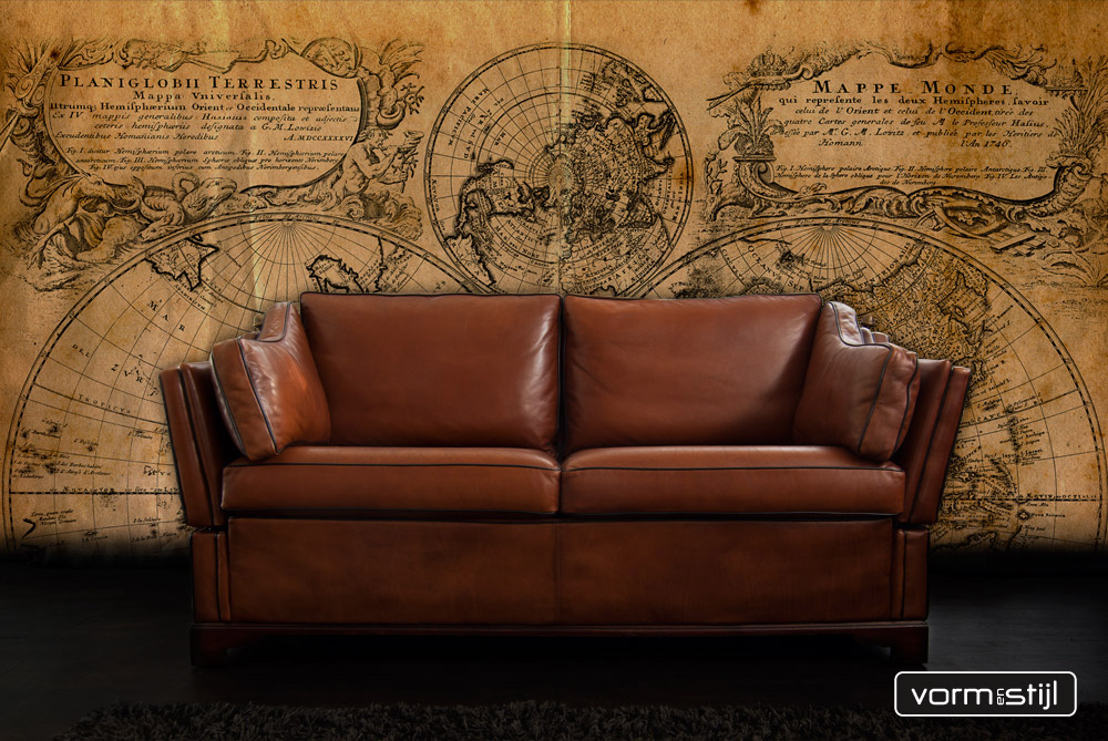 English Castle Sofa In Sheep Leather