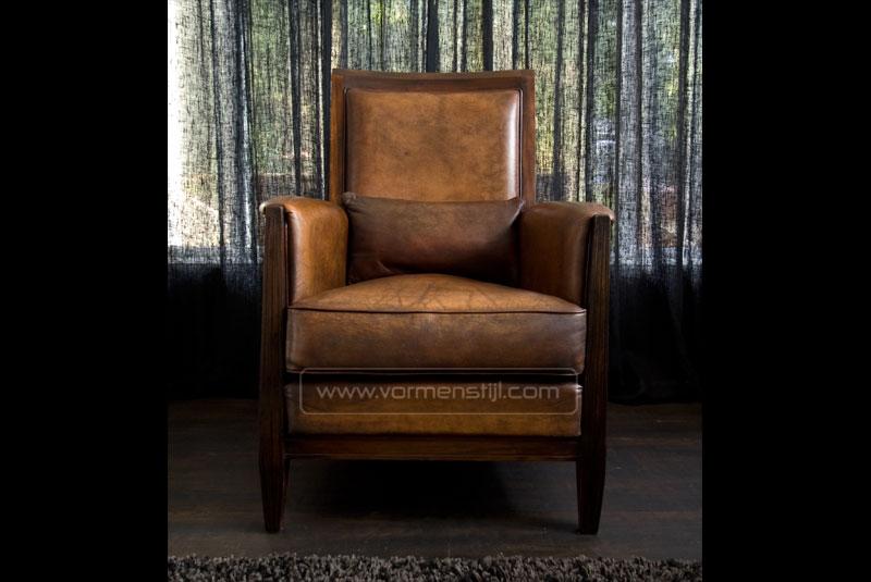 art nouveau fauteuil in dik antique schapenleer. Black Bedroom Furniture Sets. Home Design Ideas